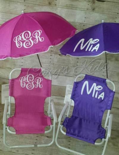 Custom Monogrammed Toddler Beach Chair And Umbrella
