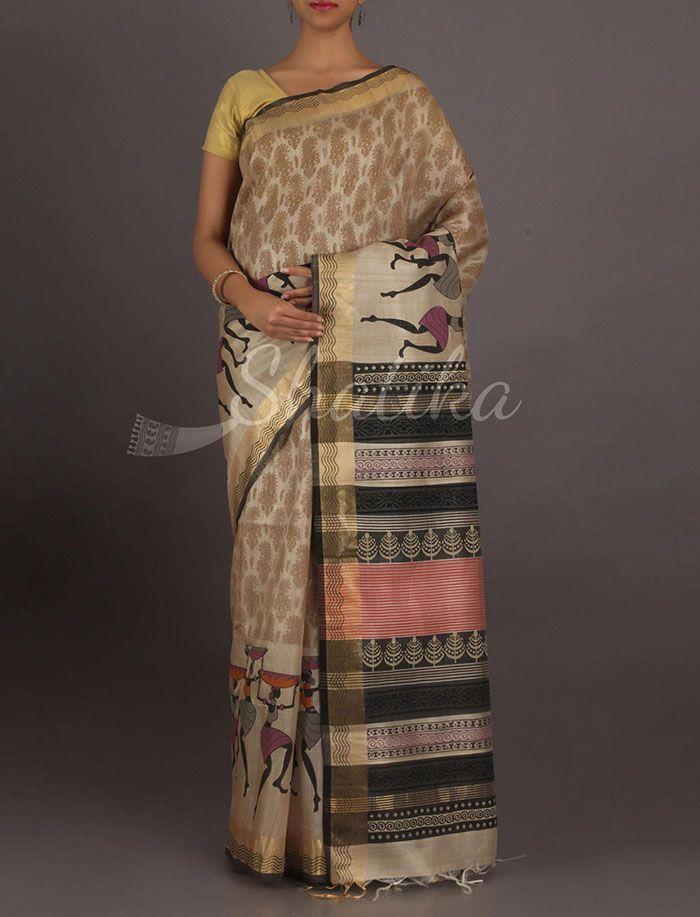 Siya Dancing Tribes Border Pure Ghicha Silk Saree