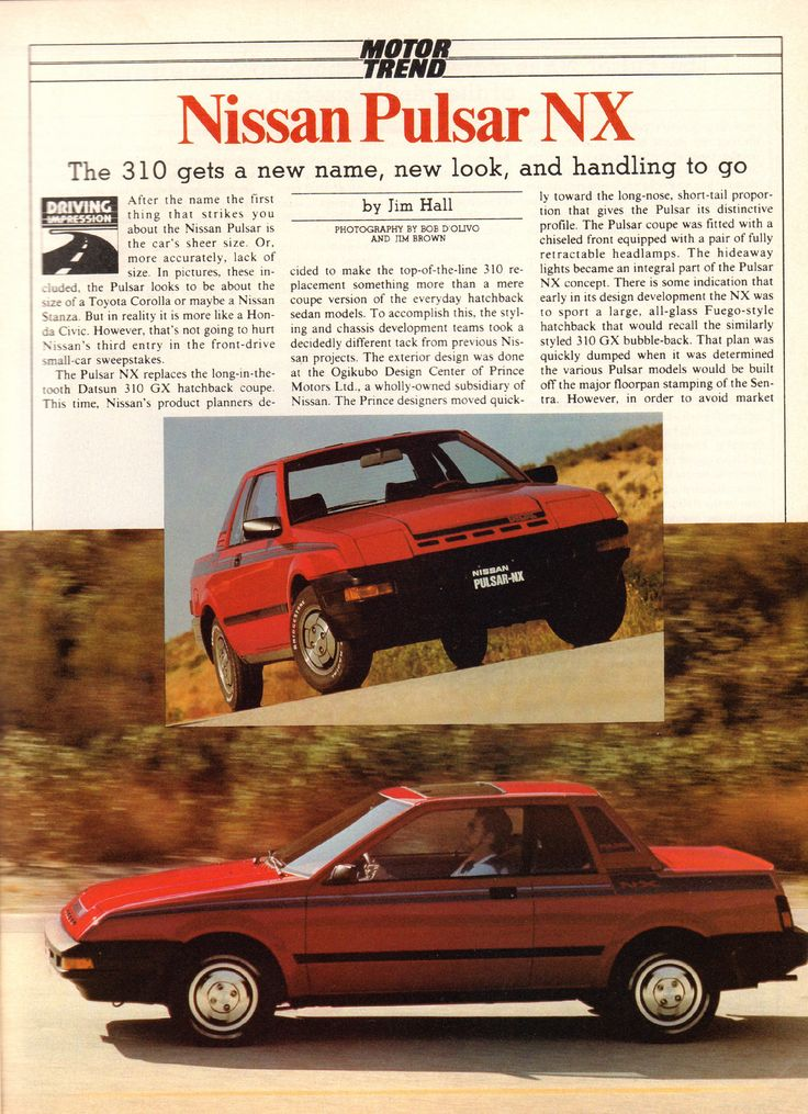 1983 Nissan Pulsar NX Article Motor Trend November 1982