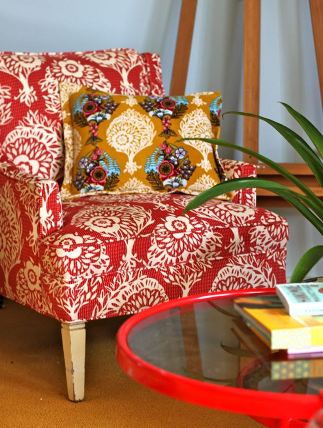Upgrade an old chair with a bold fabric.