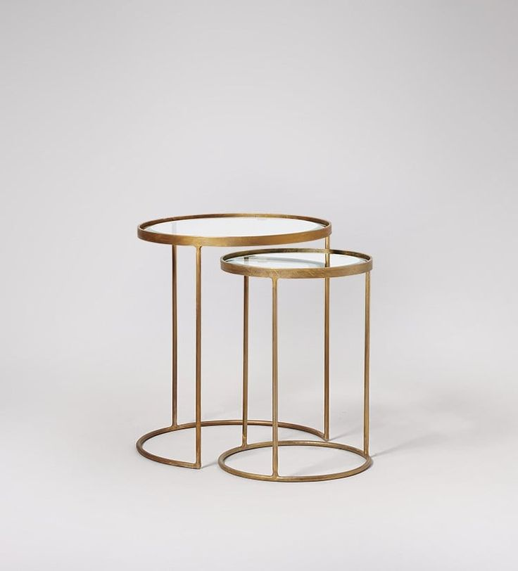 Seymour side table set in antique brass and glass