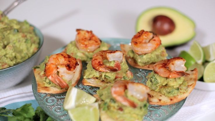 ... to Make Grilled Shrimp on Baked Flour Tortillas topped with Guacamole