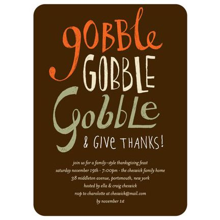 Thanksgiving Party Invitations Gobble And Give