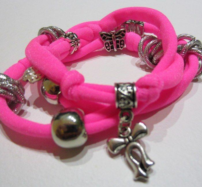 Elastic bracelet pink fluo