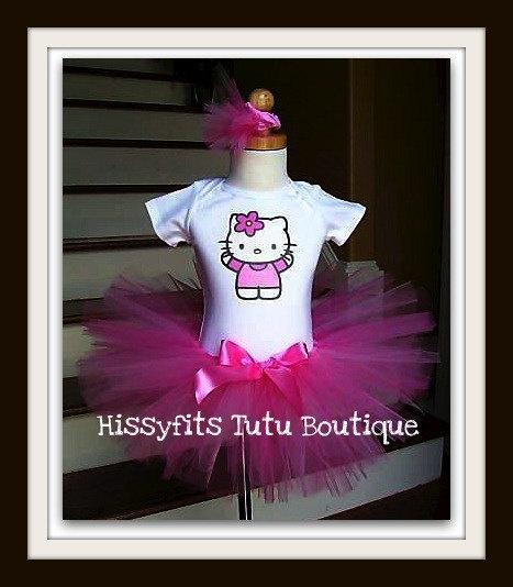 Beautiful Hello Kitty Birthday Dress Tutu Outfit 12m 18m 24m 2t 3t 4t 5t 6y 7y Pink. $34.99, via Etsy.