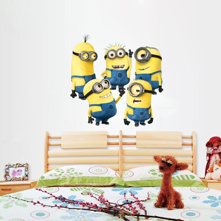 Cheap Minions Wall Sticker Home Decor Cartoon Wall Decal DIY For Kids Room  Decal Baby Vinyl