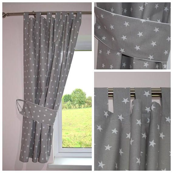 Curtains Grey White Stars 100 Cotton Baby Bedroom Tab Top Etsy Gray Curtains Nursery Grey Curtains Nursery Baby Room