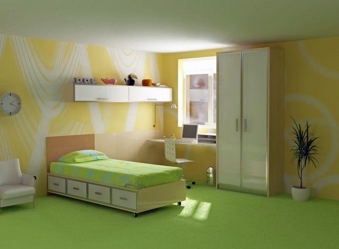 Simple Schlanke gr n und gelb Kinder Schlafzimmer Design mit gro er wei er Kleiderschrank und gr nen Teppichboden