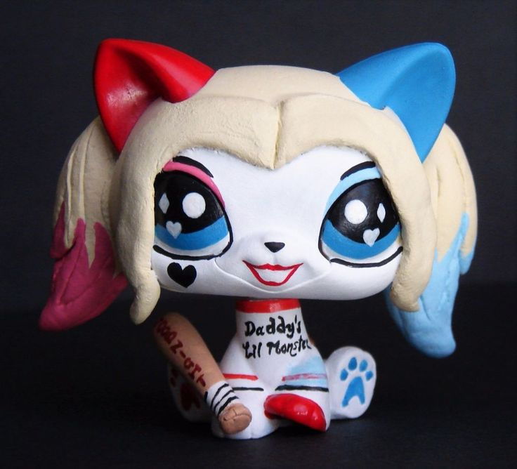Littlest Pet Shop Chibi Harley Quinn suicide squad OOAK custom figure LPS Batman #Hasbro