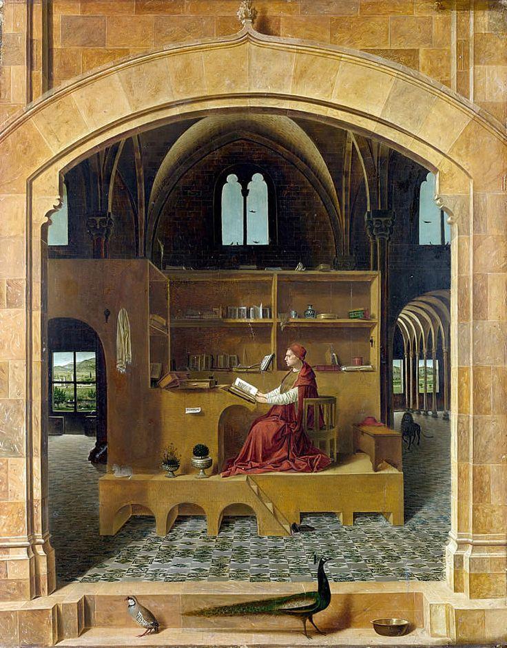 ANTONELLO DA MESSINA (1430-1479) Św. Hieronim w pracowni, olej na desce, 46x36 cm, 1474, National Gallery, Londyn