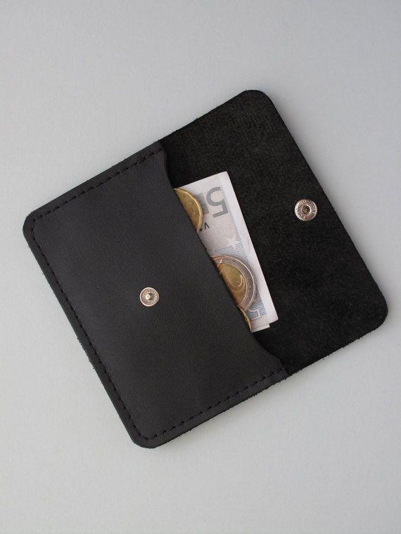 Black Leather Card Holder Business/ Leather Credit Card Holder Wallet/ Leather Business Card Holder. €24.00, via Etsy.