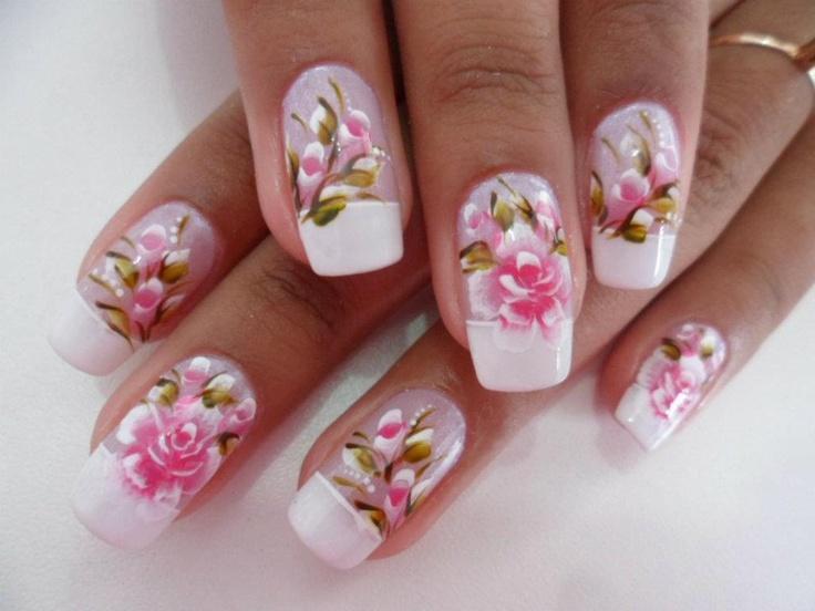 #nail #nails #nailart flowers rosebuds