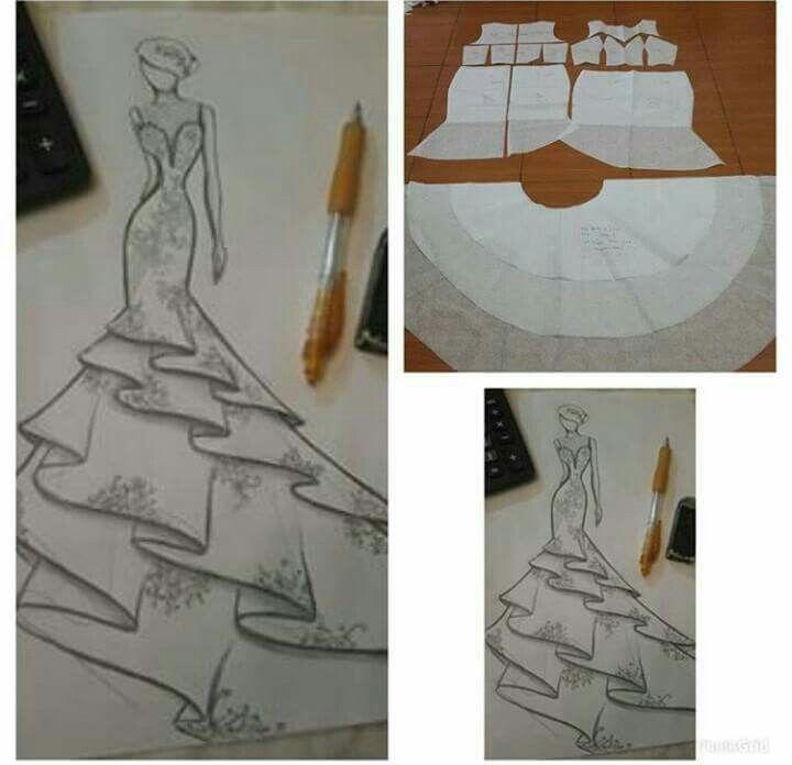 Esquema patrón vestido Sirena
