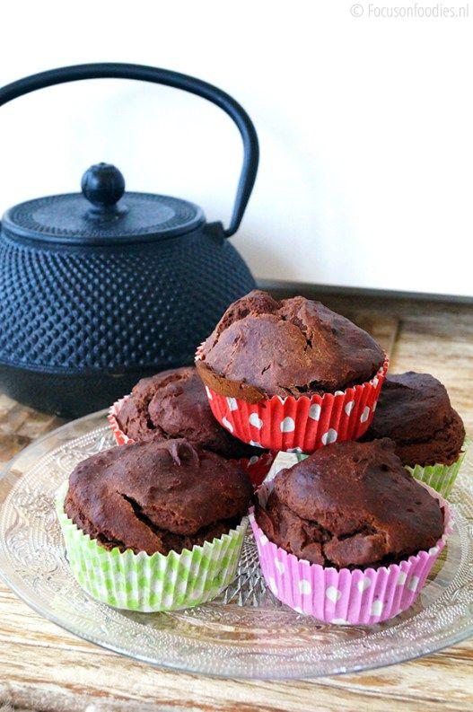 glutenvrije chocolade muffins met banaan zonder geraffineerde suiker