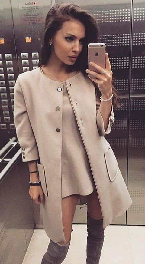 Camel Collarless Coat // Camel Dress // Velvet Knee High Boots