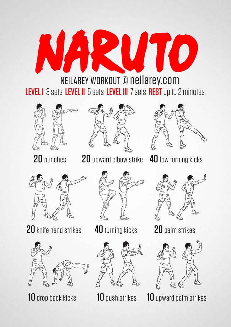 Naruto Workout / What it works: Triceps, shoulders, intercostal muscles, quads, front hip flexors, side hip flexors, lower abs. calves, glutes, lower back, cardiovascular system, aerobic system (VO2 Max).