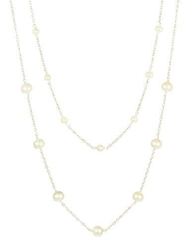"2-Piece Mother-Daughter Tin Cup White Freshwater Cultured Pearl Necklace Set Amazon Curated Collection. $90.00. Made in China. Lengths 14"" and 18"""