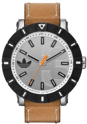 adidas Originals 'Amsterdam' Silicone Bezel Leather Strap Watch, 54mm