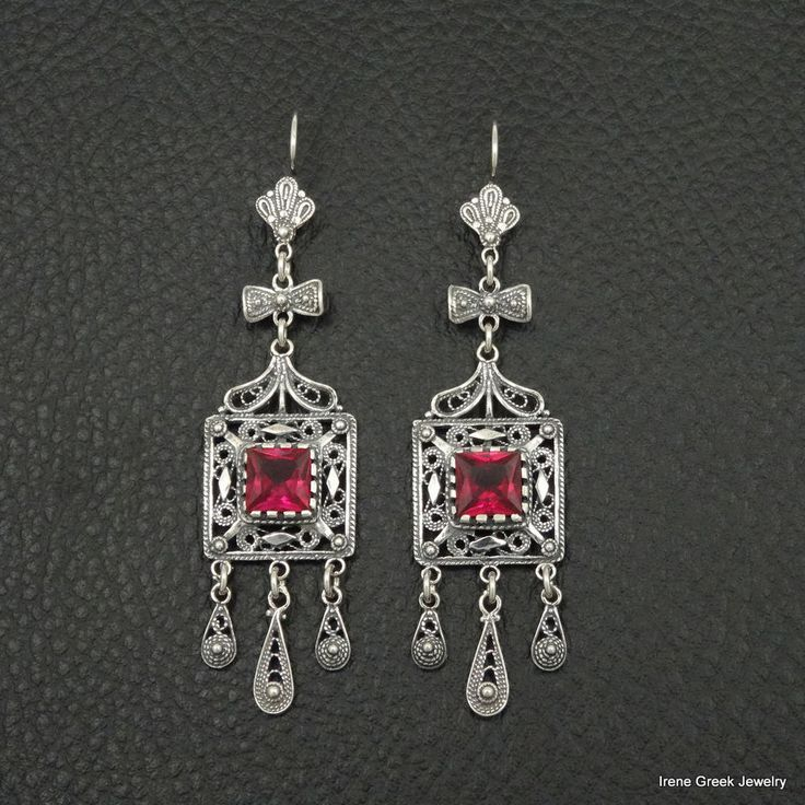 UNIQUE RUBY CZ FILIGREE STYLE 925 STERLING SILVER GREEK HANDMADE ART EARRINGS #IreneGreekJewelry #DropDangle