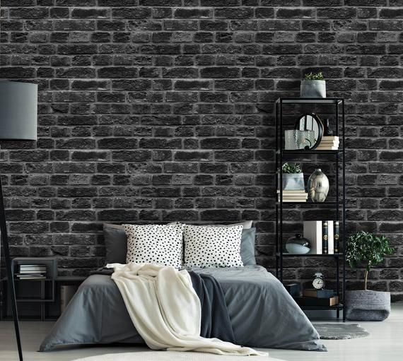 Removable Peel N Stick Wallpaper Self Adhesive Wall Mural Black Gray Brick Pattern Nursery Wall Room Decor Realistic Brick Wall Black Brick Wall Brick Interior Wall Brick Wall Bedroom