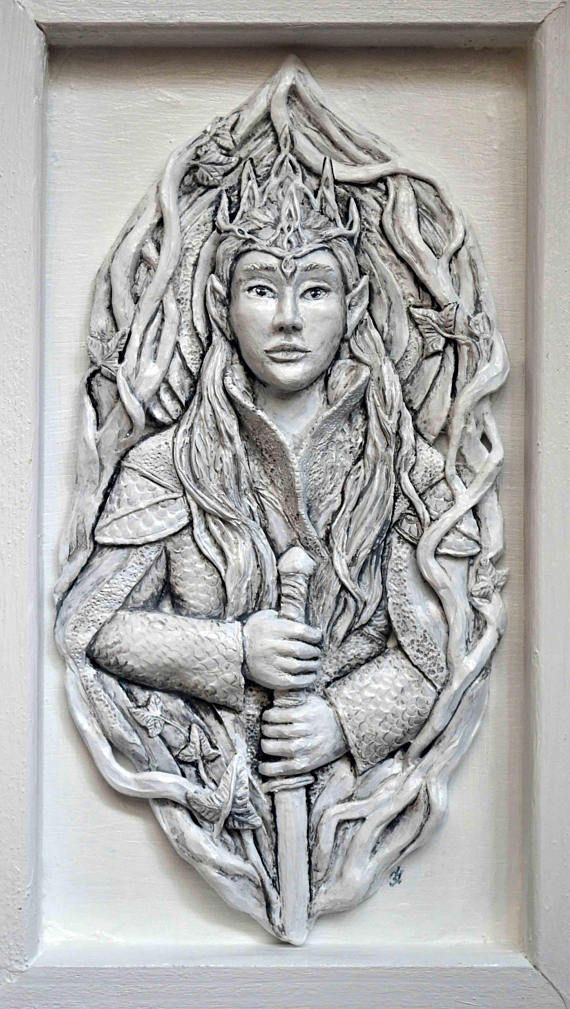 Elven king  Relief wall sculpture in frame elven portrait