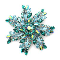 Sherman Floral Teal and Blue Brooch