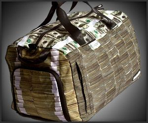 This money stacks duffel would probably be stolen. Maybe I do want it, as I could use it to store needlepoint in. Heaven knows I spent stacks of money on it.
