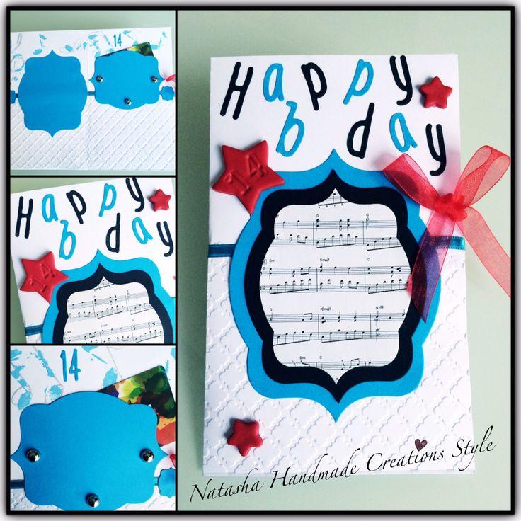 Biglietto di buon compleanno porta contanti o cards, tema musicale per un giovane artista che festeggia i suoi 14 anni
