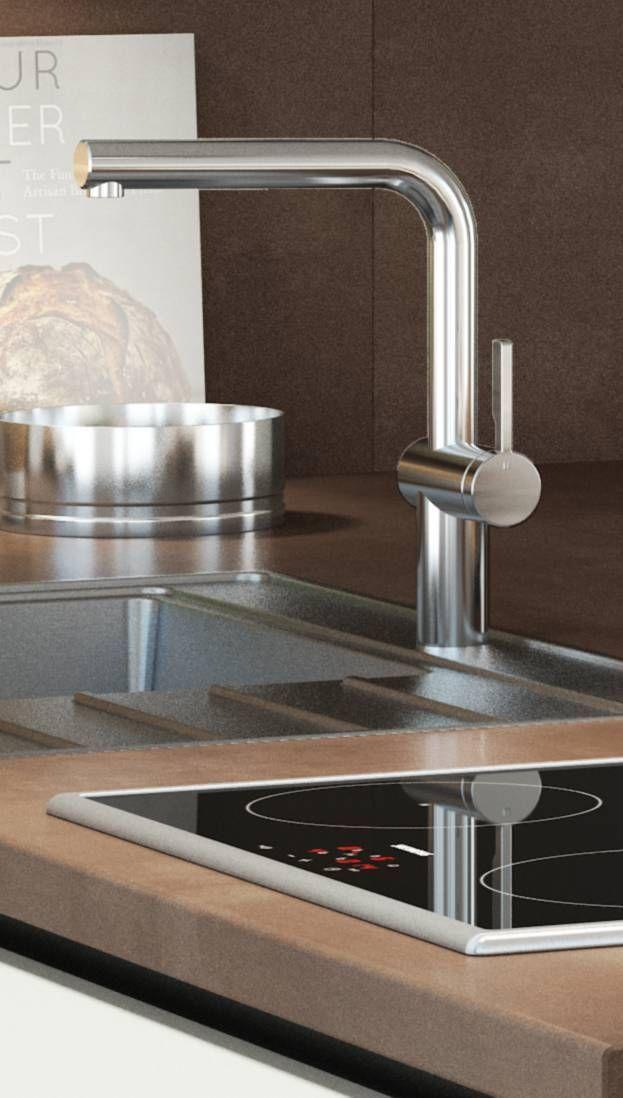 Grosser Runder Wasserhahn Kuchenamatur Waschamatur Aus Edelstahl Fur Eine Moderne Kuche Keukenblad
