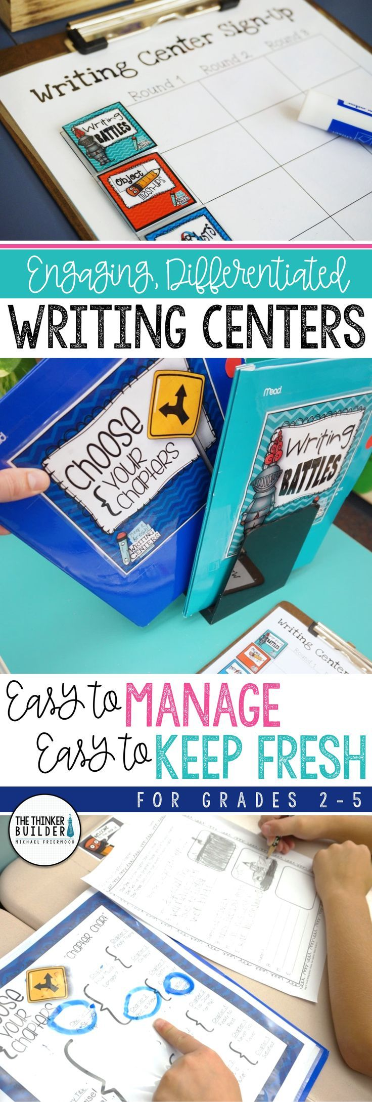 "Engaging, differentiated writing centers that give students a variety of meaningful writing practice. Each center includes student directions, planning organizer, writing paper, and writing tips. Includes assembly instructions to create ""take-and-go"" folders, sign-up charts, record sheets, and idea lists to make the centers easy to manage and easy to keep fresh. 17 complete centers included in the bundle. Gr 2-5 ($)"