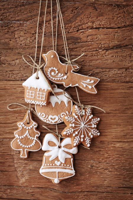 Homemade gingerbread ornaments. You can substitute cork for the gingerbread longevity.