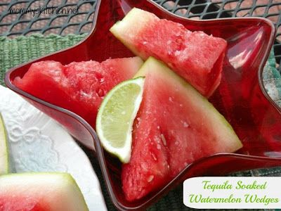 Mommy's Kitchen: Tequila Soaked Watermelon Wedges & Layered Margarita Bites