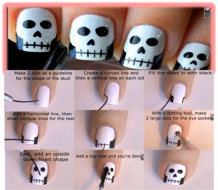 as do skulls on your nails for Halloween / como hacer calaveras en tus uñas para halloween