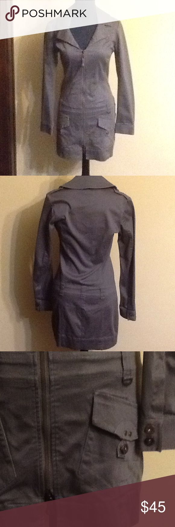 Diesel Dress Grey military dress in great condition with zipper down the front. Form fitting. Diesel Dresses Long Sleeve