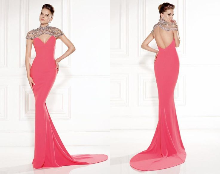 Elegant Luxury 2015 Summer Hot Sale Modern Sexy High Neck Evening Dresses Backless Beading Sweep Train Sleeveless Fast Delivery Custom Made.