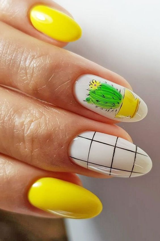 Bright summer nail design with pattern