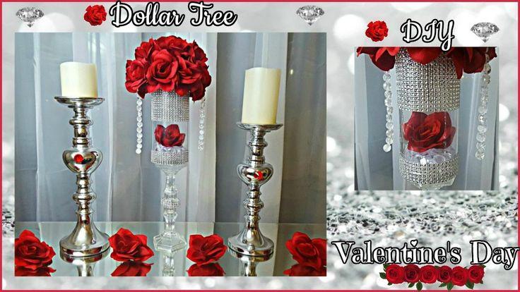 DOLLAR TREE  DIY | Valentine's Day 2017 | Glam Floral Rose Arrangement Craft - YouTube