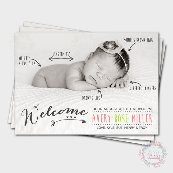 Fun Handwritten Birth Announcement Cards / by PitterPatterParties