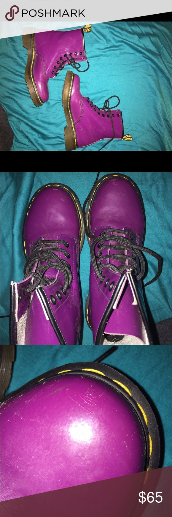 Purple Doc Martens purple doc martens, hardly worn, good condition. small scratches on top of right boot but they are not noticeable. Dr. Martens Shoes Combat & Moto Boots