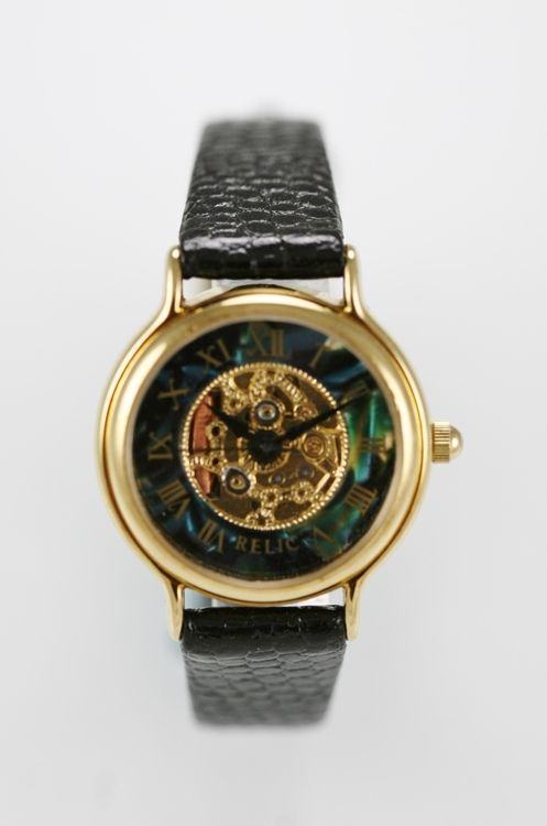 Relic Watch Women Green Pearl Skeleton Black Leather Stainless Gold Steel Quartz
