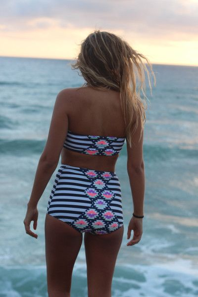 Geometric Gigi. Vintage Bikini. Retro style. High waisted bottoms. Tribal and stripes. Modest swimsuit. Summer style. Cute & affordable.