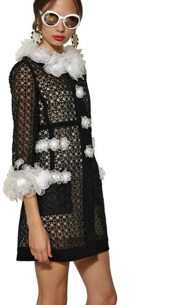 MOSCHINO Flower Embroidered Techno Organza Coat - Lyst