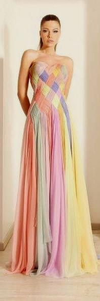 Rainbow pastel bridesmaids' gown | Articles - Easy Weddings