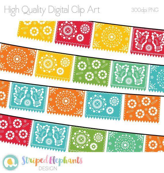 Papel Picado Clipart Printable Mexican Banners Clip Art Cinco De Mayo Clip Art Party Banner Clip Art Clip Art Papel Picado