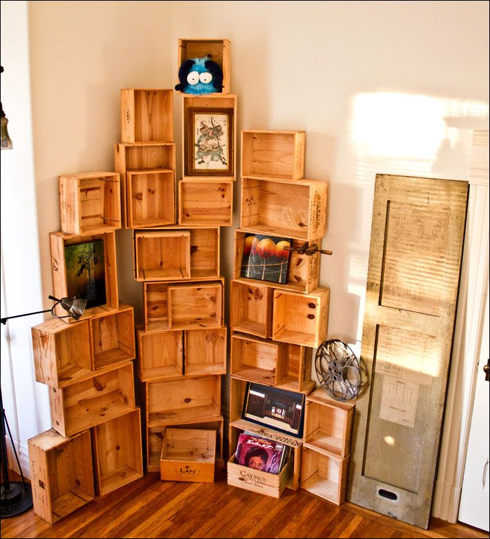 Decorative Boxes For Bookshelf : Wine crate bookshelves by passionfly books