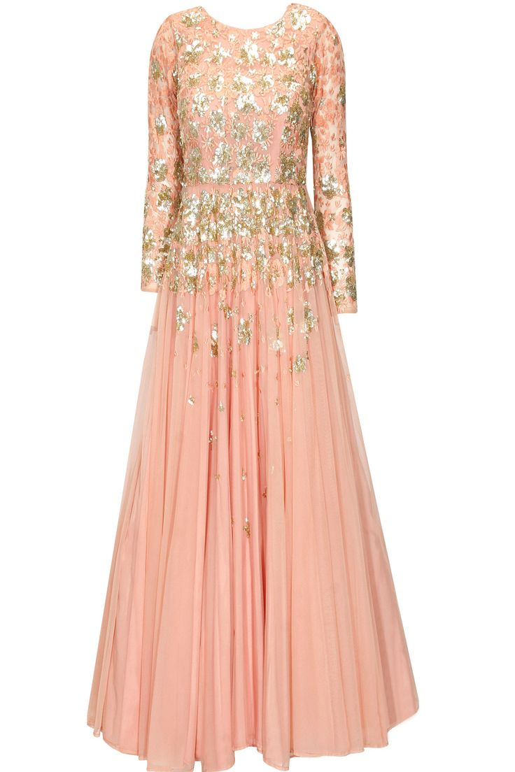 Peach and gold shimmer sequins embroidered flared gown available only at Pernia's Pop Up Shop.