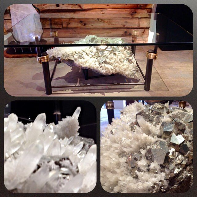"This beautiful forged glass table by James Vilona showcases a giant quartz and pyrite crystal.  I think we are safe to say this a ""statement piece"", wouldn't you agree?Come see us at Vilona Gallery on Pearl St. in Boulder, and visit us online at www.vilonagallery.com to learn more."
