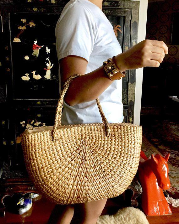 Santorini Handwoven Straw BagStraw Tote PurseStraw Tote