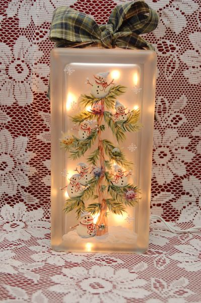 Snowman Tree Glass Block