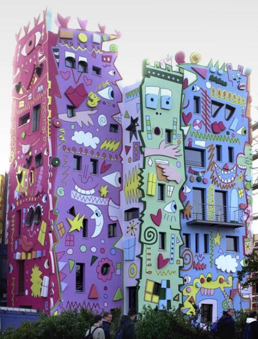 STRANGE BUILDING PAINT JOB - CRAZY SHAPES & SYMBOLS AS WELL AS COLORS! WOW!
